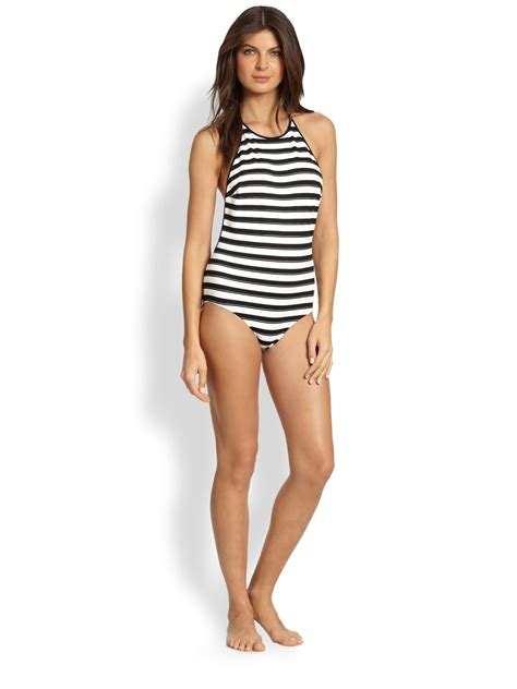 Halter One Swim Suit lyst chlo 233 onepiece striped halter swimsuit in black