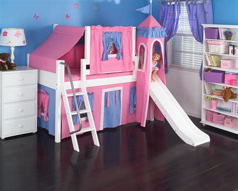 Hot Pink Princess Castle Bed With Slide By Maxtrix Kids 370 Princess Bed With Slide