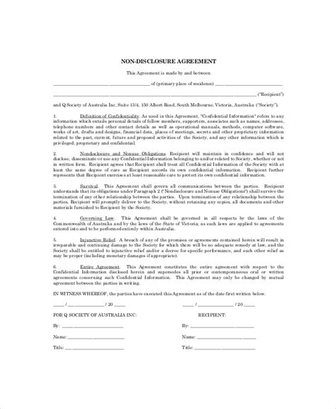 sle non disclosure agreement simple confidentiality