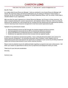 Finishing Manager Cover Letter by Best Human Resources Manager Cover Letter Exles Livecareer