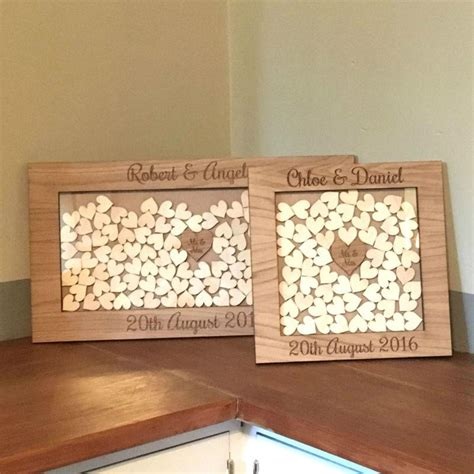 Wedding Drop Box Frame by Personalised Wedding Oak Wooden Rustic Drop Box Hearts