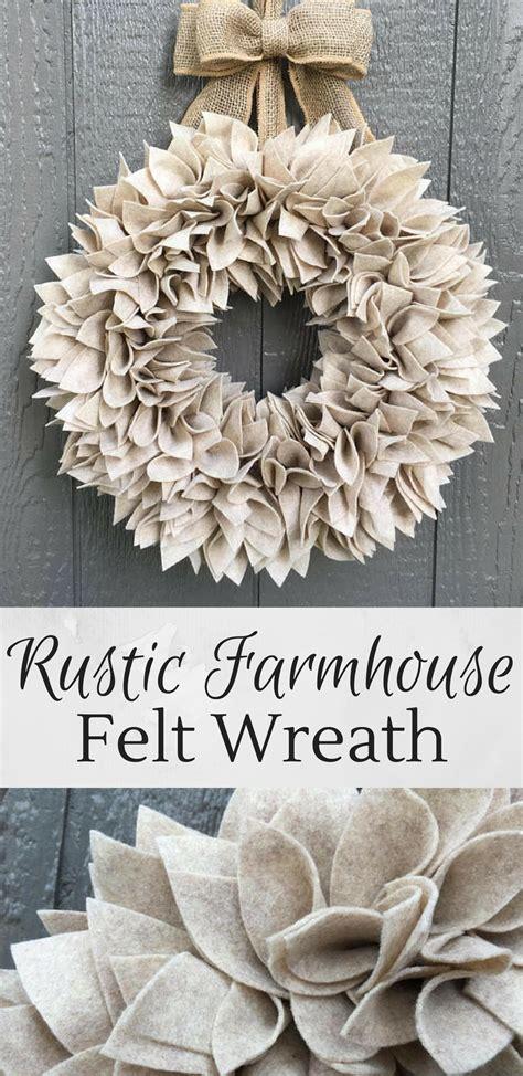 beige rustic farmhouse wreath   felt perfect