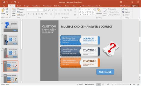 Create A Quiz In Powerpoint With Quiz Tabs Powerpoint Template Creating Powerpoint Templates