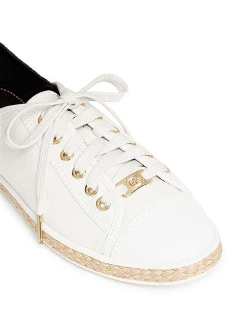 michael kors kristy sneakers michael kors kristy lace up sneakers in white lyst