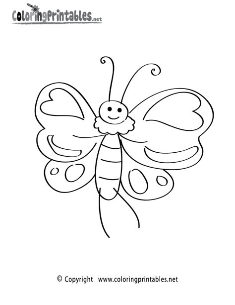 free printable cartoon butterfly coloring page