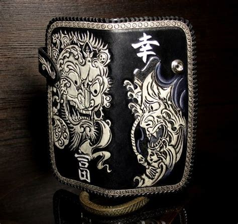 japanese leather wallet pattern nice leather mens biker wallet with hand tooled pattern in