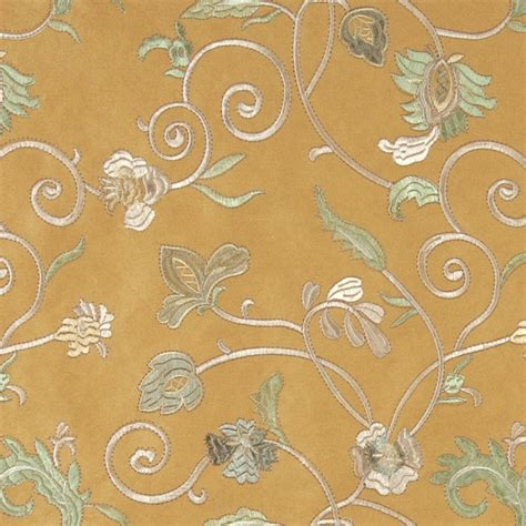 embroidered upholstery fabric gold ivory green embroidered floral vines suede upholstery