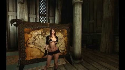 skyrim idle animation hdt breasts collision youtube