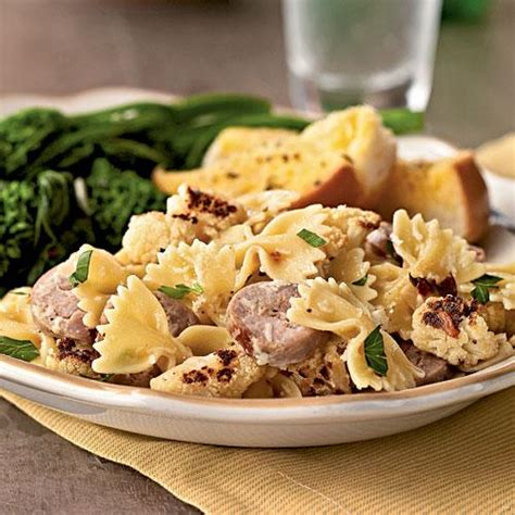 cooking light dinner ideas farfalle with cauliflower and turkey sausage staff