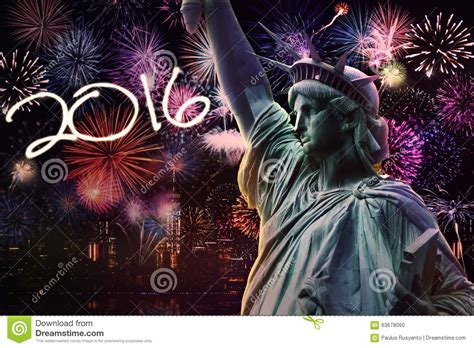 new year fireworks at crown statue of liberty with fireworks and numbers 2016 stock