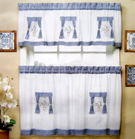 American Style Fabric Embroidered Kitchen Curtain Set Semi Blue And White Kitchen Curtains