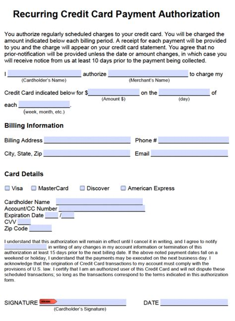 form ach authorization form template business recurring payment