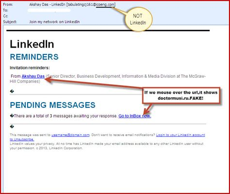 email fake linkedin phishing emails how to distinguish between a