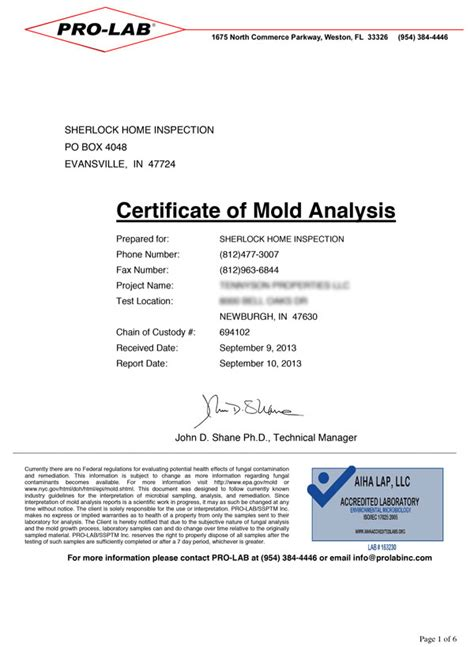 Mold Inspections And Testing Sherlock Homes Property Inspections Mold Report Template