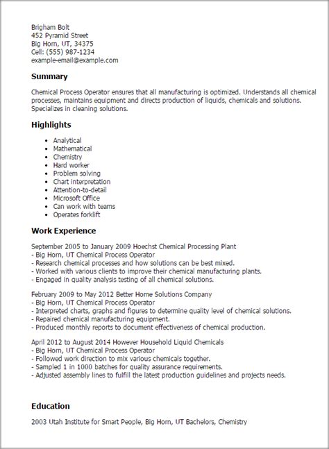 chemical process operator resume template best design