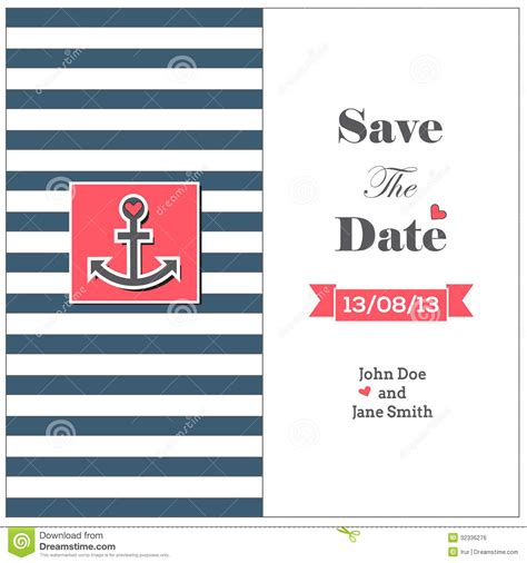 Wedding Nautical Invitation Card With Anchor Royalty Free Stock Image Image 32336276 Nautical Save The Date Template