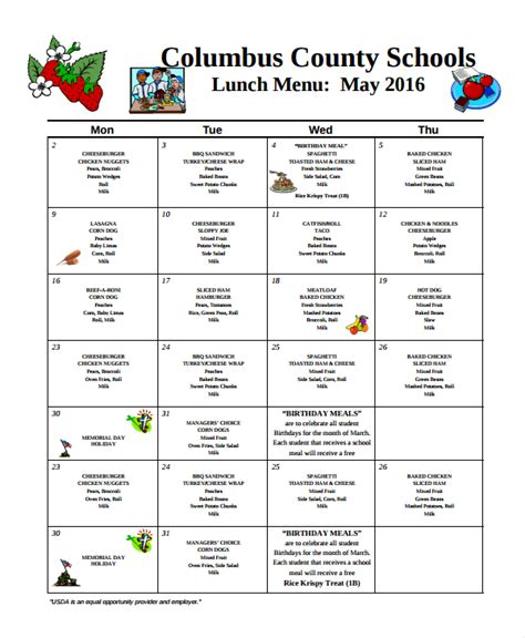 school lunch menu template sle school menu template 8 free documents