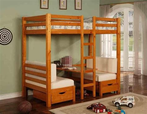 table convertible bunk bed in honey pine finish loft bed with desk underneath