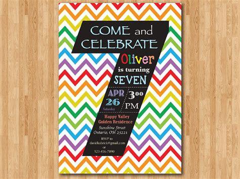 Rainbow 7th Birthday Invitation. Colorful Chevron Birthday
