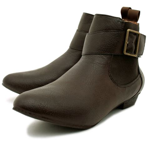 womens brown leather style buckle flat chelsea ankle boots