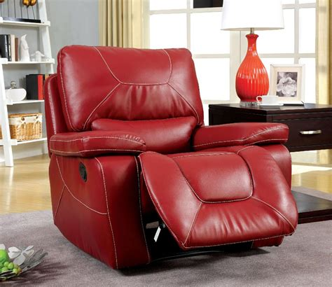 red recliners red leather recliner chair