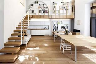 wooden stairs mezzanine t house in sant ambrogio milan