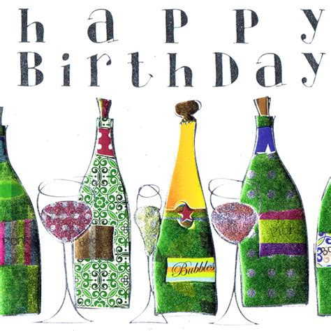 card birthday wine bottles and glasses