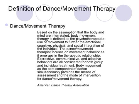 Description Of A Dancer by Movement Therapy With Clients With Disorders