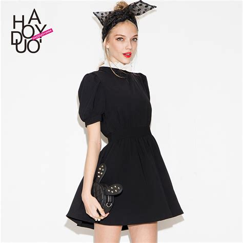 Black Slim Waist Dress 2015 new design brand new fashion sweet princess slim waist slim ruffle collar color black block