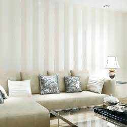 Living Room Glitter Paint Modern Silver Glitter White Striped Wallpaper For Wall
