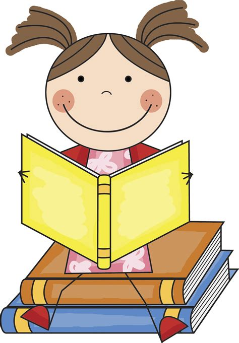 printable reading images girl reading book clip art clipart best