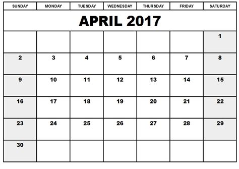 april 2017 calendar printable blank templates blank