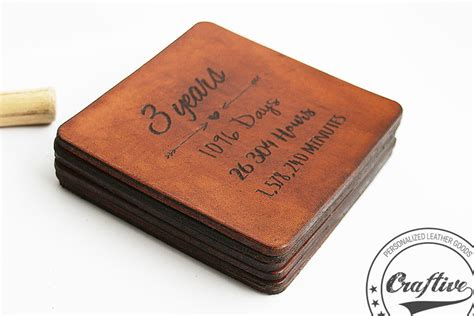 3rd anniversary gift leather coasters