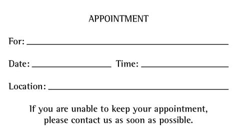 Business Cards With Appointment On Back