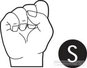 american sign language sign language letter s outline