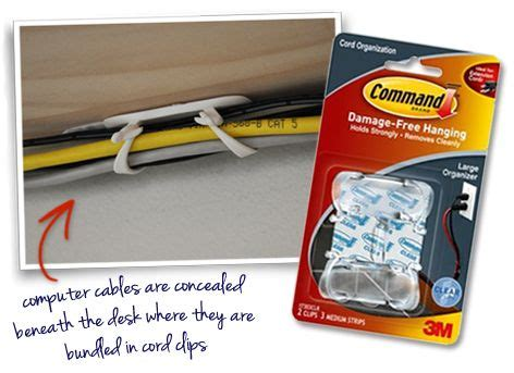 organize cords on desk conceal cables and cords under a desk with command cord