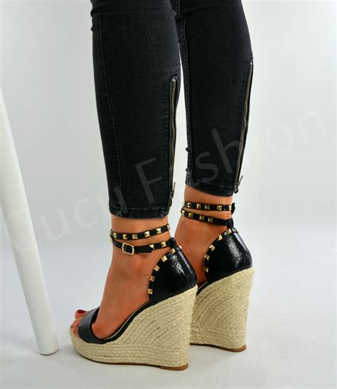high heeled wedges new womens high wedge heel espadrille sandals