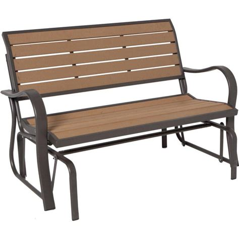 wood bench glider lifetime wood alternative outdoor glider bench the home