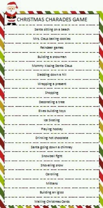 printable christmas party games for work christmas charades game holiday ideas pinterest