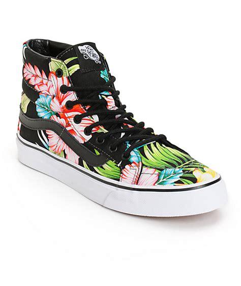 vans patterned high tops vans sk8 hi slim hawaiian floral shoes womens at zumiez