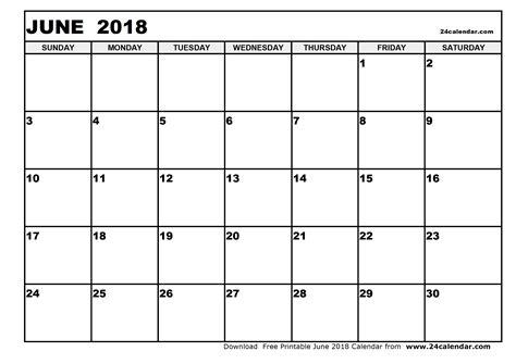 Blank Calendar 2018 Blank June 2018 Calendar In Printable Format