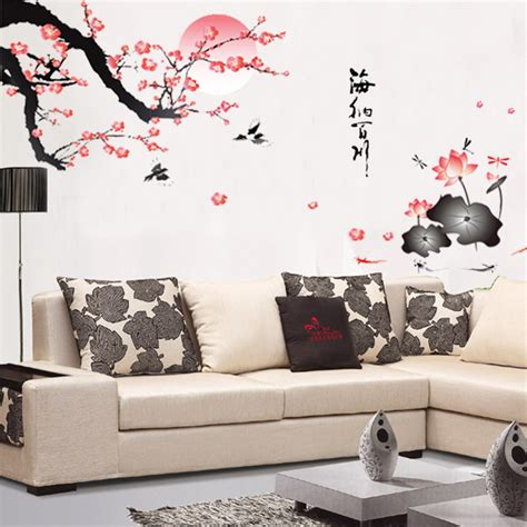 home decor wall art stickers aliexpress com buy removable flower wall sticker pink