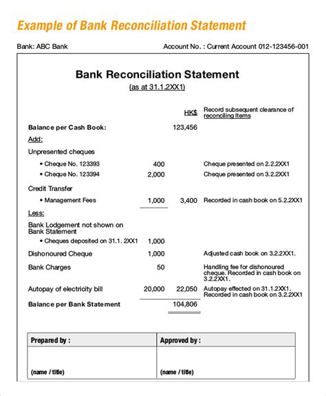 trust account reconciliation template bank reconciliation exle 5 free word pdf documents