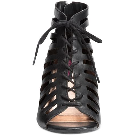 material shoes lyst material harley lace up wedge sandals in black