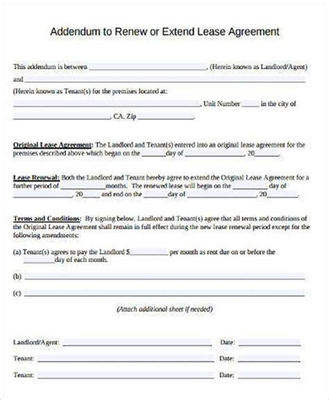 rental lease agreement form sles 9 free documents in