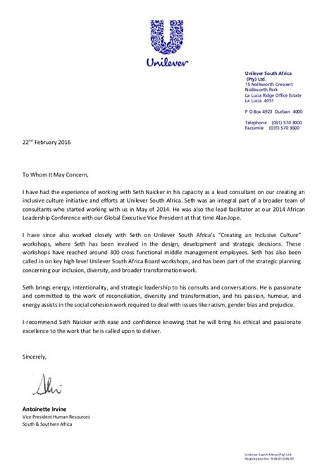 Reference Letter Là Gì Letter Of Reference Seth Naicker Unilever 22feb2016 Copy