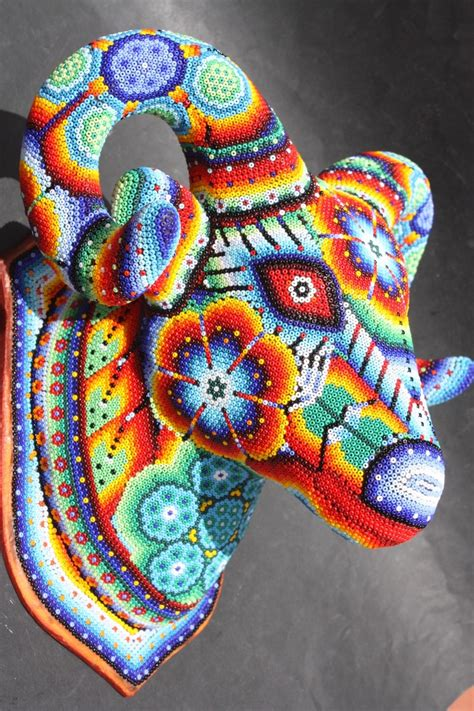 beaded paintings goat mexican ethnic huichol for the home