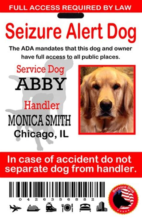 epilepsy service dogs seizure alert service id tag service card ada sewingnetwork accessories on