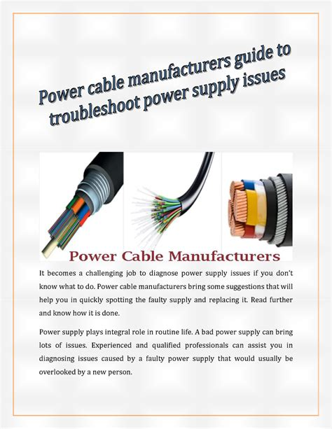 power cable suppliers power cable manufacturers guide to troubleshoot power