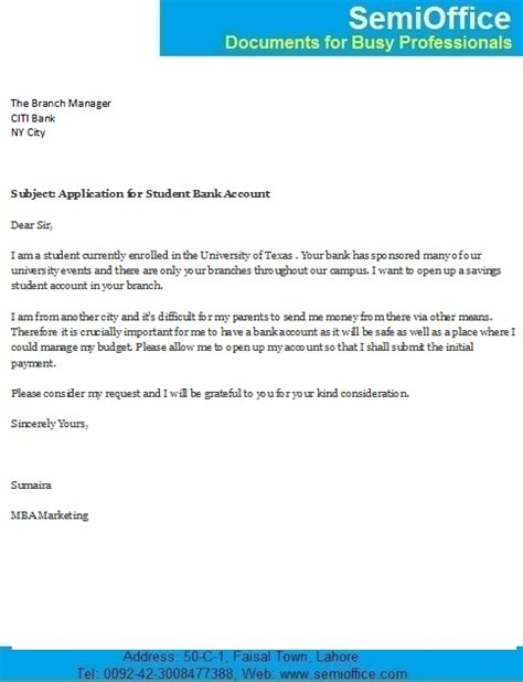 Employment Letter Format For Bank Account Opening Letter For Student Bank Account Opening